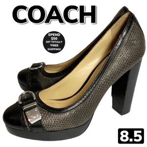 COACH Two Tone Stacked Heel Pumps (8.5)